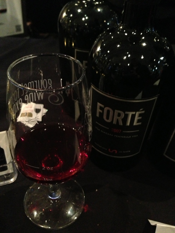 "Trying some ""port"" wine from Ontario's Union Winery."