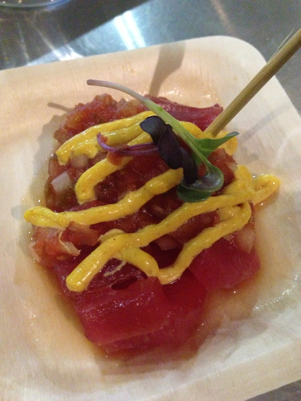 A sampling from the Guu Izakaya booth - marinated tuna.