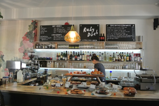 The beautiful counter of Ruby Dock Cafe.
