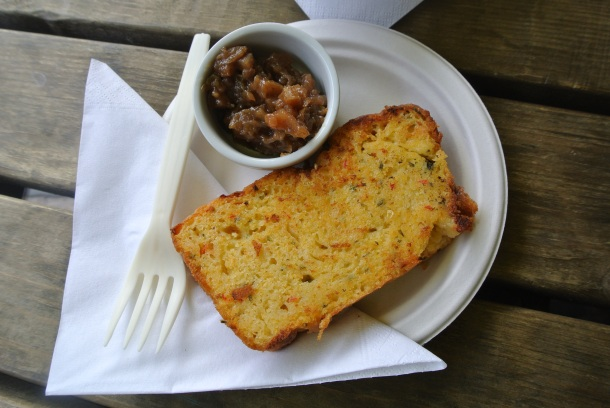 Toasted corn and chili bread with chutney!