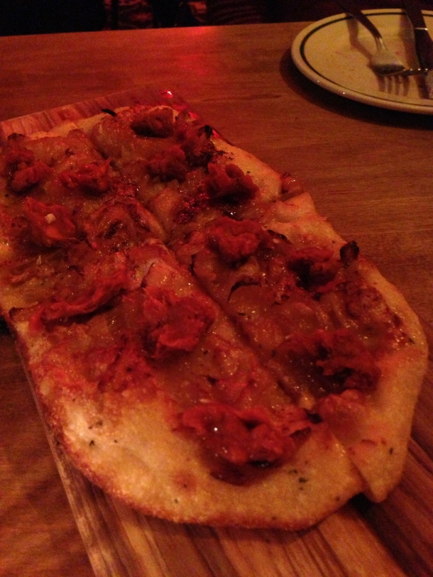 Flat bread with caramelized onions.