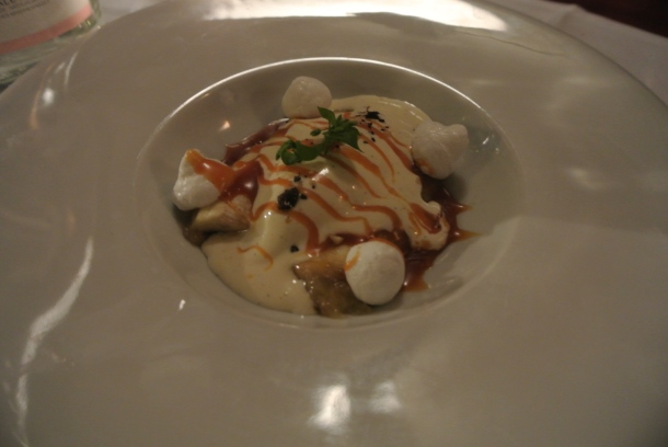 Banane poelee - pan fried bananas, meringue, bourbon caramel and pralines.