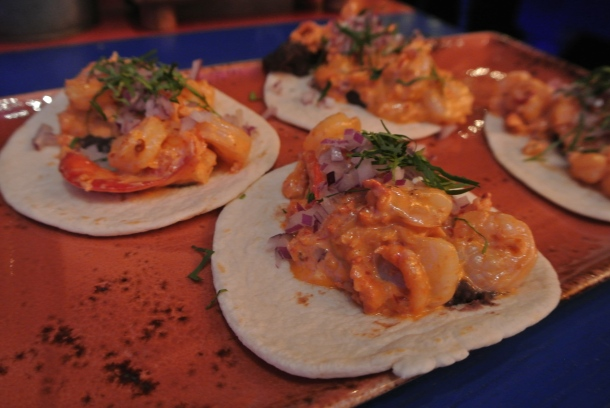 Gobernador - signature tacos with sauteed shrimp and lobster.