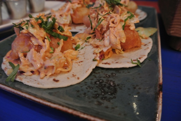 Fish tacos made with crispy fried haddock.