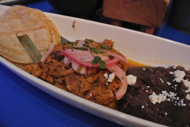 Carnitas - pulled pork and black bean.