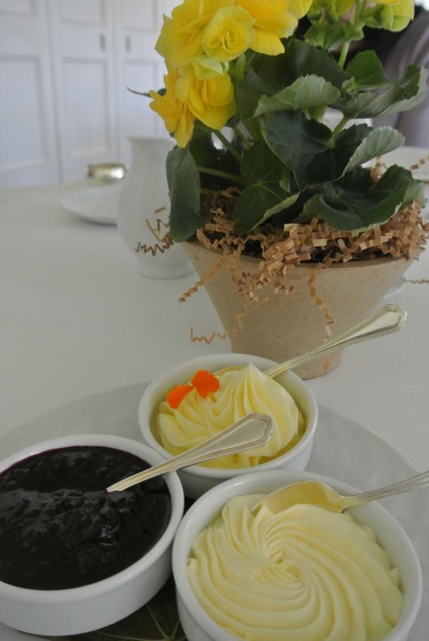 Devon cream, honey butter and housemade preserves.