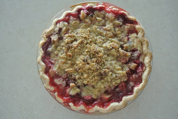 Fresh out of the oven, my strawberry rhubarb crumble pie!