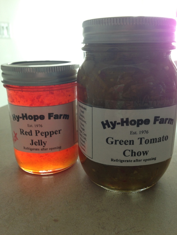 Homemade jars of relishes and jellies by Hy-Hope Farms!