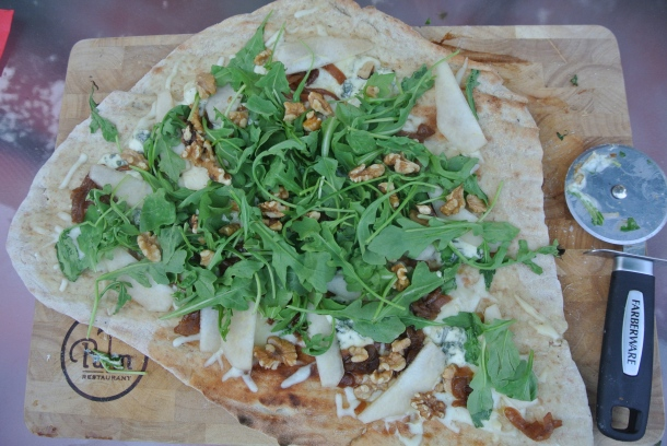 My Pizza 2 - Blue cheese, caramelized onions, pear, arugula and walnut pizza.