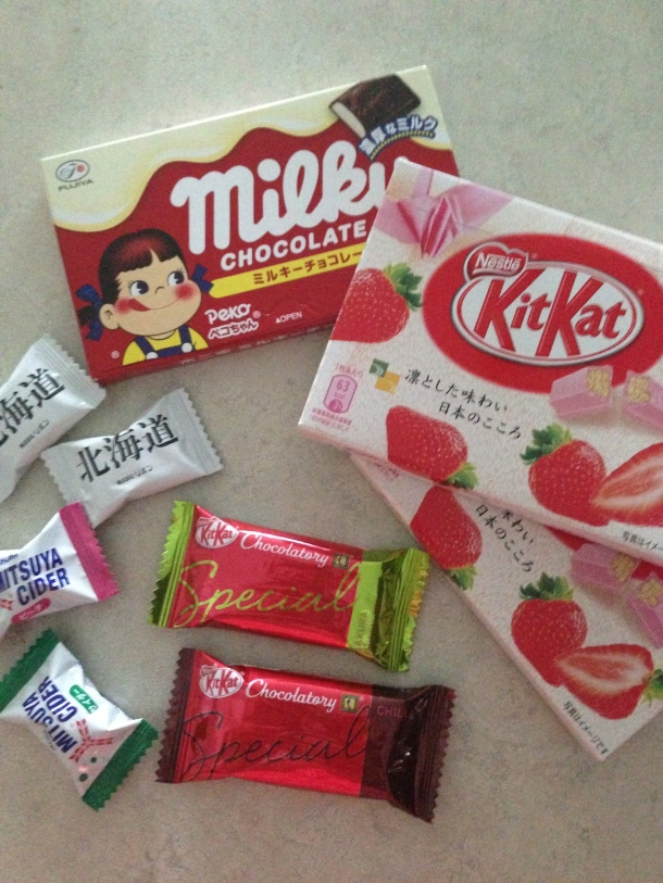 Sample of goodies from Japan - chocolate and candies.