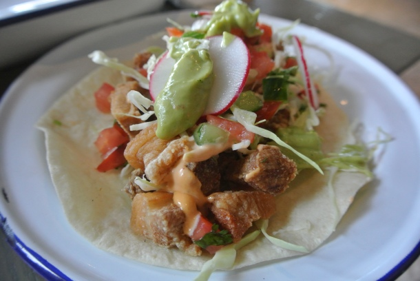 Getting close and personal with the chicharrones taco.