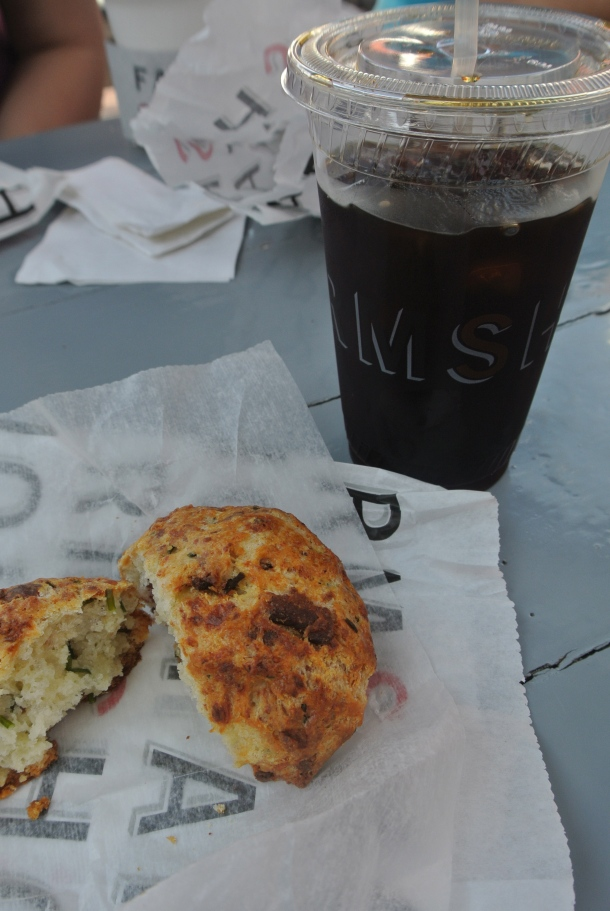 My breakfast before the drive to Joshua Tree National Park - Iced drip coffee and Bacon Cheddar scone.