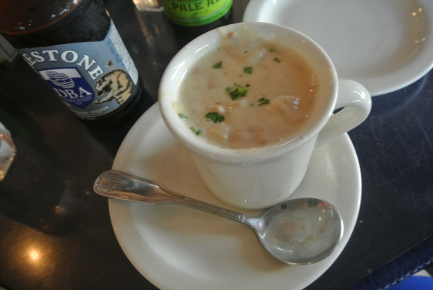 A cup of homemade clam chowder.