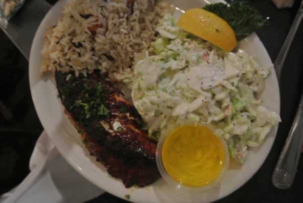The special of the day, blackened grilled sole with rice pilaf and coleslaw.