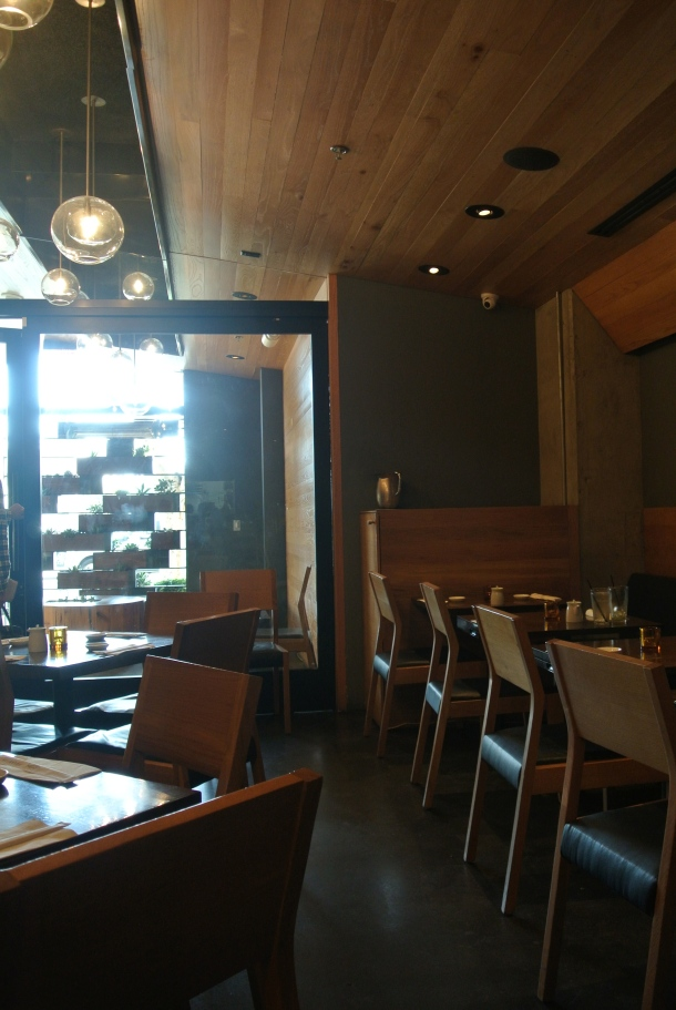 The minimalist interior of Sugarfish restaurant.