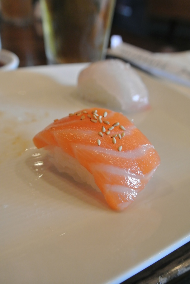 A close up of the salmon sushi.