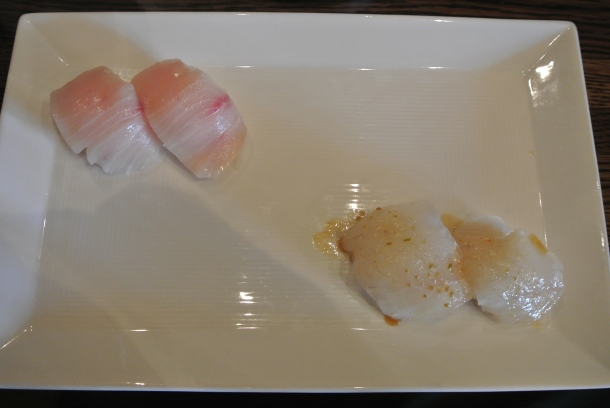 Dish 6, 7 - 2 pieces of yellowtail and 2 pieces of halibut.