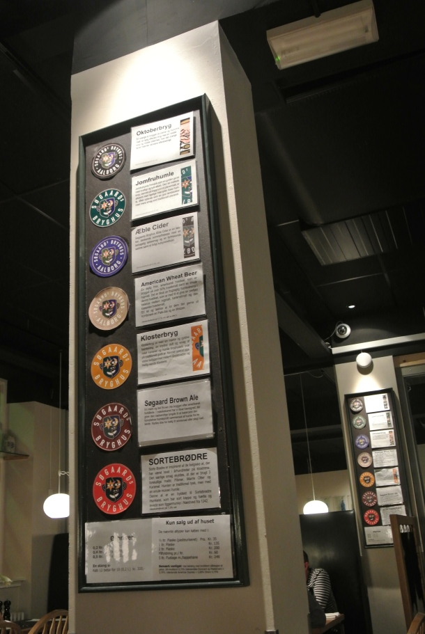 The list of different brews that are produced at Sogaards.
