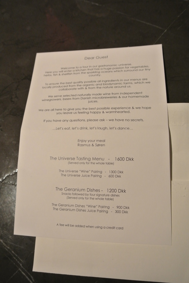 When you are shown your table, you're given a letter from the chef.