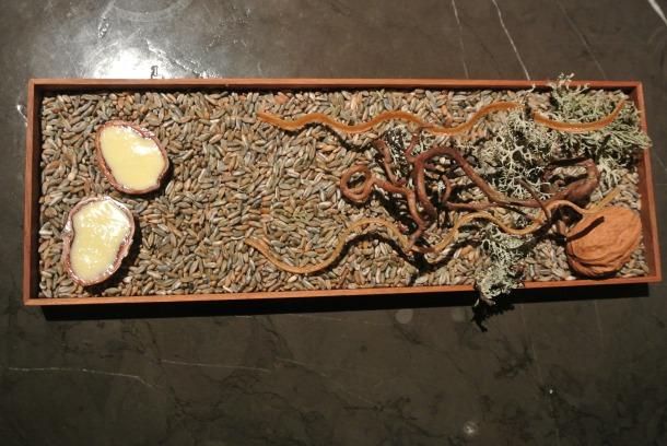 The 4th course - Jerusalem artichoke, rye vinegar and walnut.