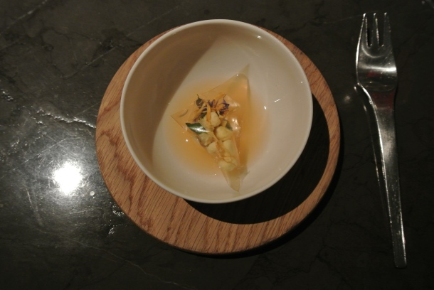 The 5th course - Dried flowers and apples.