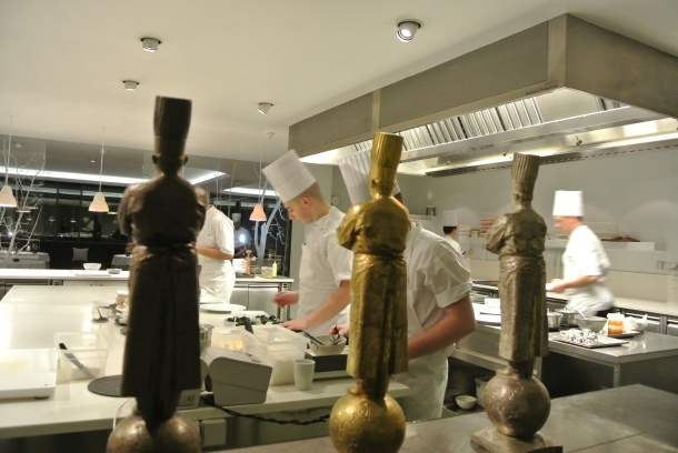 The unbelievable view from our table in the kitchen while we enjoyed our 8th course.