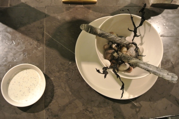 """The 8th course - """"Impressions of the ocean"""" with seaweed and razor clam."""