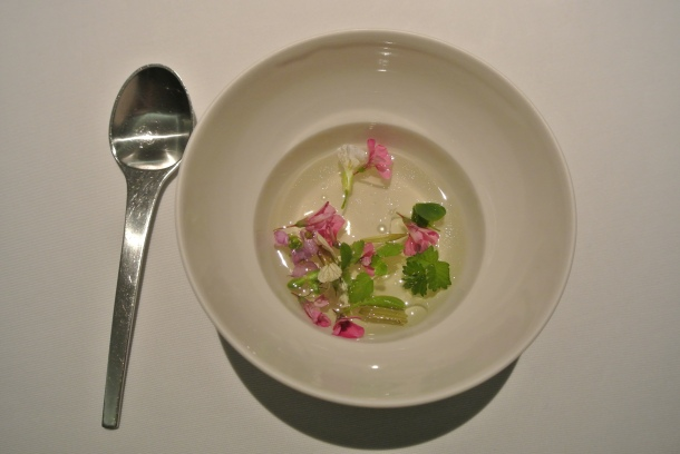 9th course - Tomato water, herbs and jellied ham.
