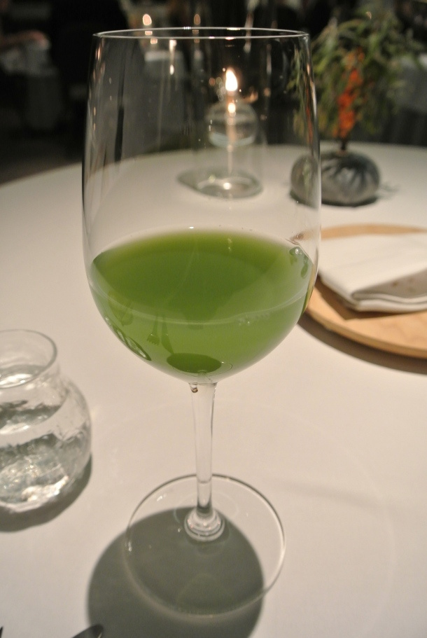 A bit of savoury juice made with cucumber and a bit of apple.
