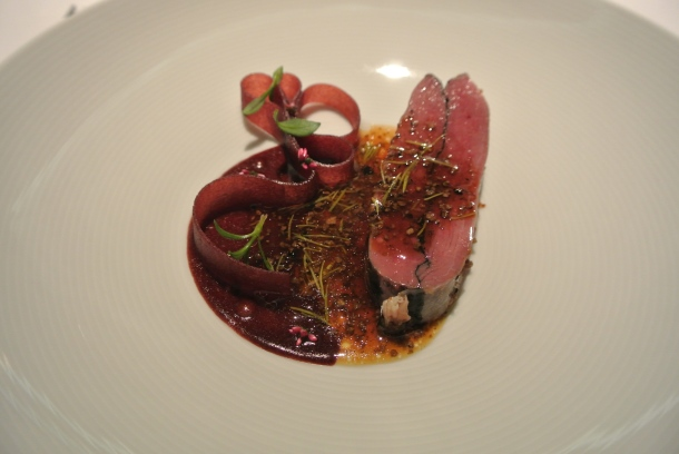 "16th course - ""Wild duck in calm surrounding"", juniper, pickled pine and elder."