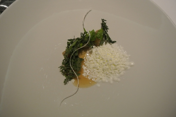 """The 17th course is """"Gron Grod"""", sheep yoghurt (""""pearls"""") and sweet cicely."""