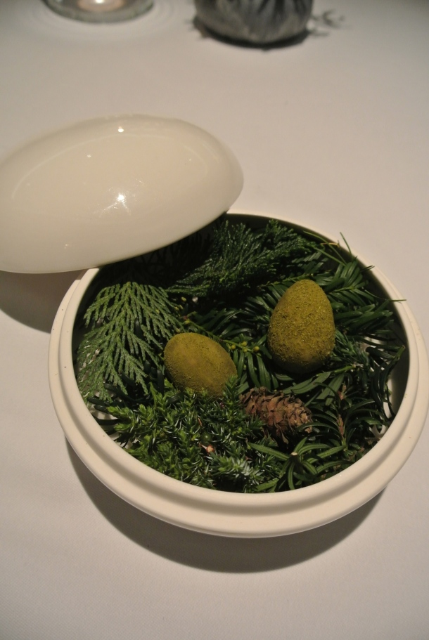 Dessert: 20th course - Green egg with pine.