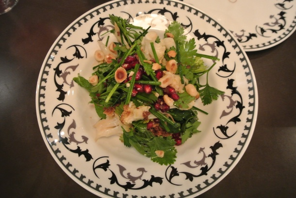 Roasted cauliflower and hazelnut salad with a pomegranate vinaigrette.