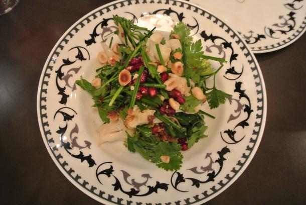 Roasted cauliflower and hazelnut salad with a pomegranate vinaigrette.