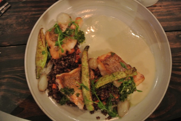My main dish - Florida red snapper with red quinoa.