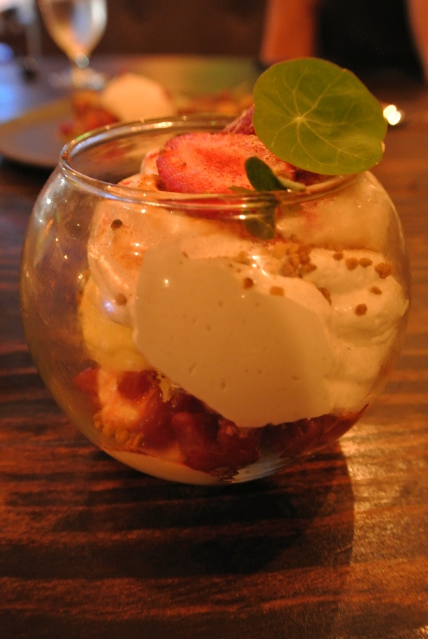 Strawberry parfait with smoked mallow cream.