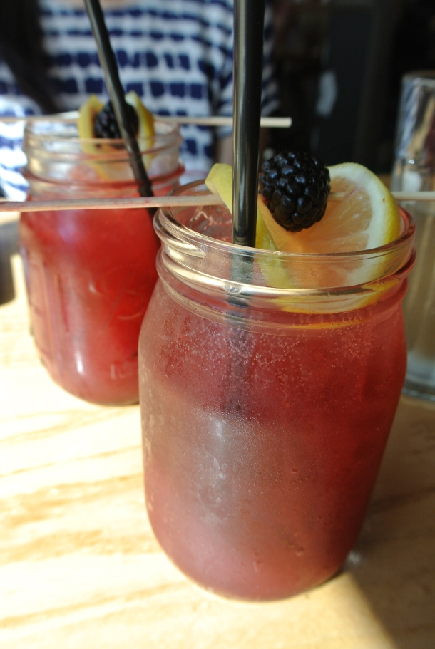 Yardbird's famous Blackberry bourbon lemonade.