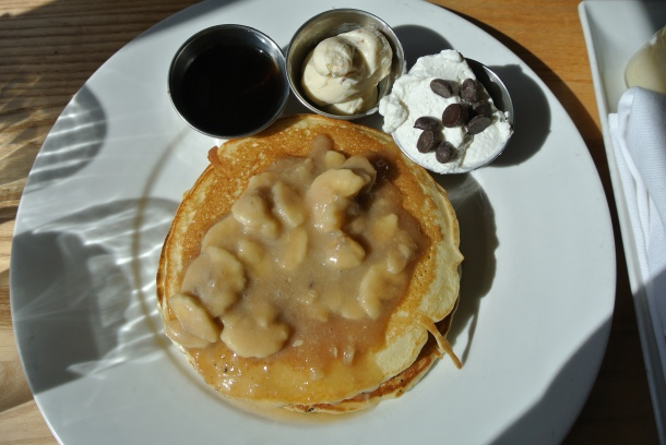 '77 Elvis Pancakes - chocolate chip pancakes, banana compote, bourbon maple syrup and peanut butter.