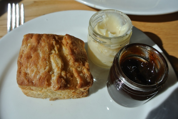 Buttermilk biscuit with honey butter and house jam.