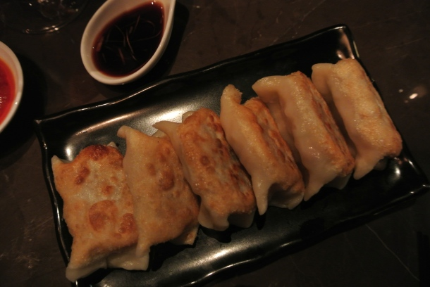 Pan-fried vegetable dumplings.