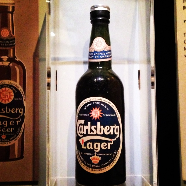 One of the early bottles used by Carlsberg with one of the first editions of their logo.
