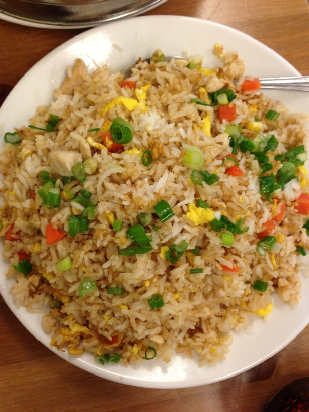 Shrimp and chicken fried rice.