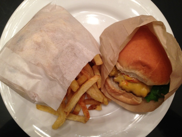 My order - the classic cheeseburger and fries.