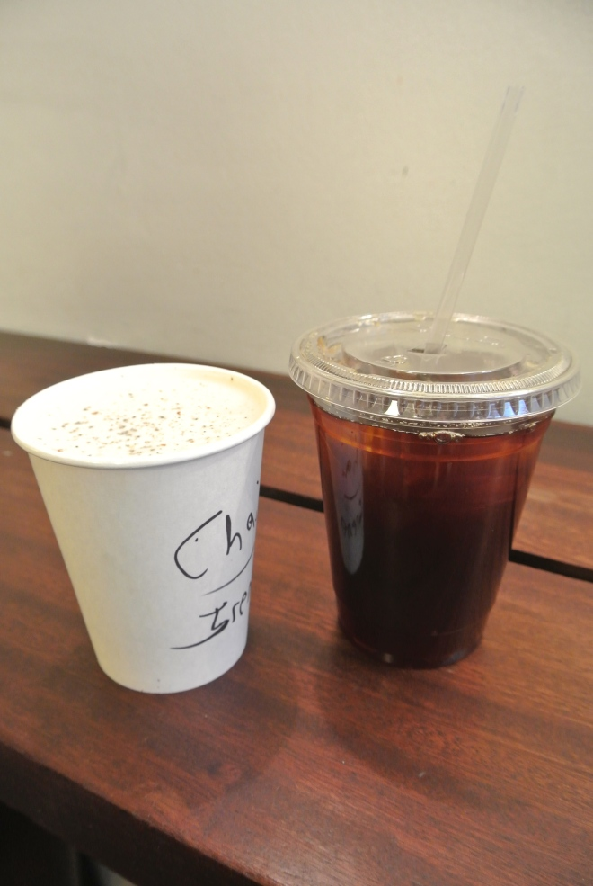 A cup of cold drip and a hot chai latte from the Wired side.