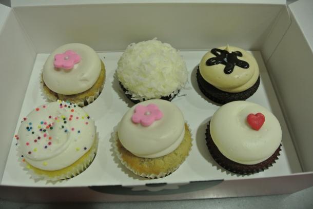 Our choices for a half dozen cupcakes.