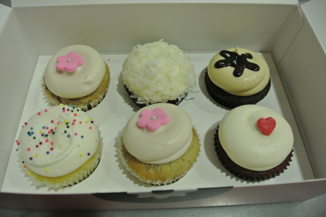 Our choices for a half dozen cupcakes.
