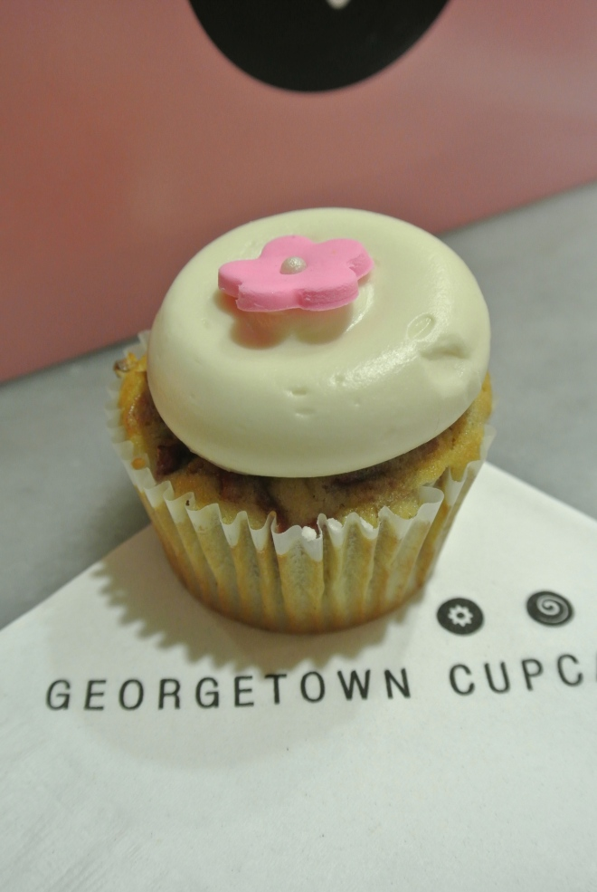 The deliciously looking special cupcake for the month - cherry blossom cupcake.