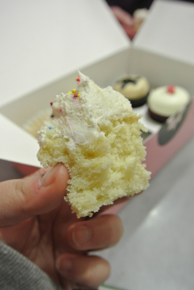 Inside the vanilla birthday cupcake.
