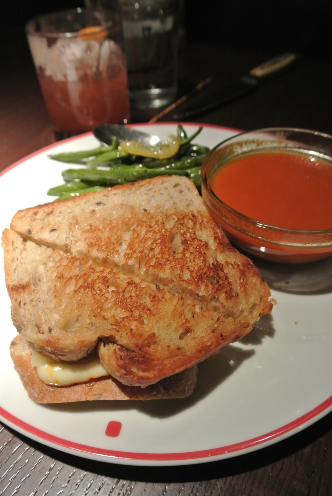 Grilled cheese with roasted tomato soup.