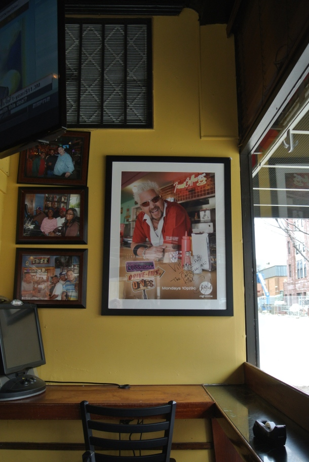 Wall of fame inside the Village Cafe - that is, Guy Fieri.